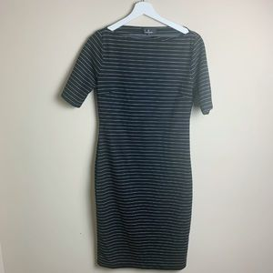 Lulus Stripped BodyCon Midi Dress Size Large